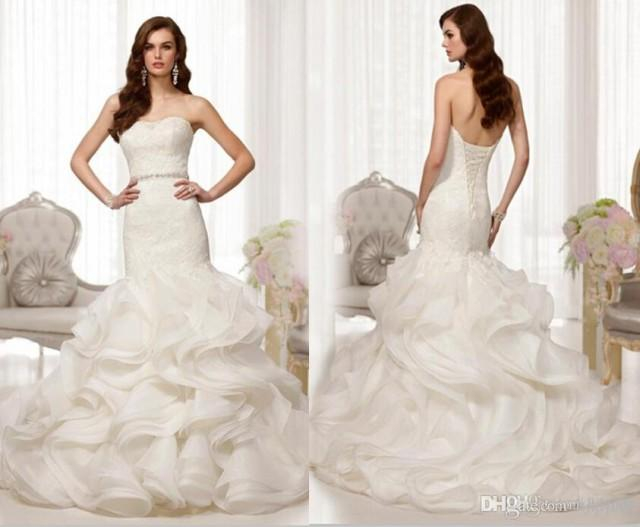 2014 new custom sexy strapless mermaid wedding dress for Mermaid wedding dress with ruffles