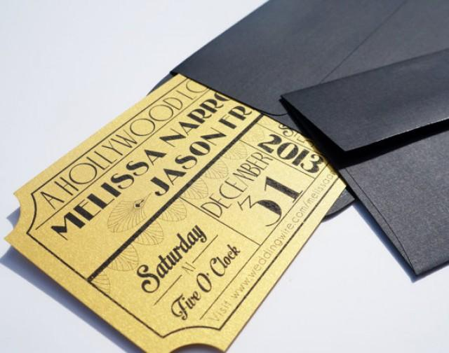 Creative Digital Wedding Invitations Old Hollywood Art Deco Gold Movie Ticket Wedding