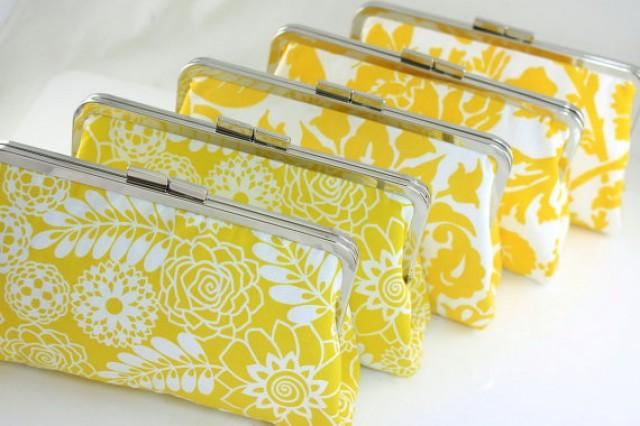 wedding photo - Yellow Bridesmaids Clutches / Lemon Wedding Clutch in Various Patterns / Design Your Own Clutch - Set of 6