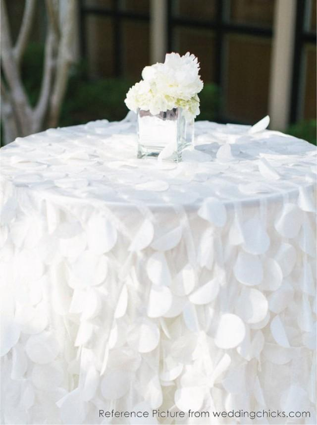 shimmery petal tablecloths ready to ship white taffeta petal table cloth for wedding ceremony. Black Bedroom Furniture Sets. Home Design Ideas