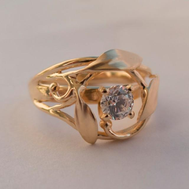 Leaves Engagement Ring No. 5 - 14K Rose Gold And Diamond Engagement Ring, Engagement Ring, Leaf ...