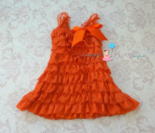 wedding photo - Fall Orange Petti lace dress, ruffle dress, baby girls dress,Birthday outfit, flower girl dress,Thanksgiving,girls dress,baby girl,halloween
