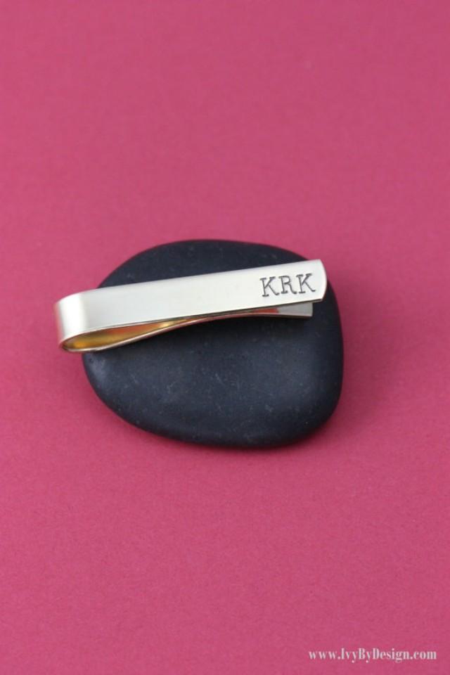 sale brass personalized tie bar groomsmen monogram initials