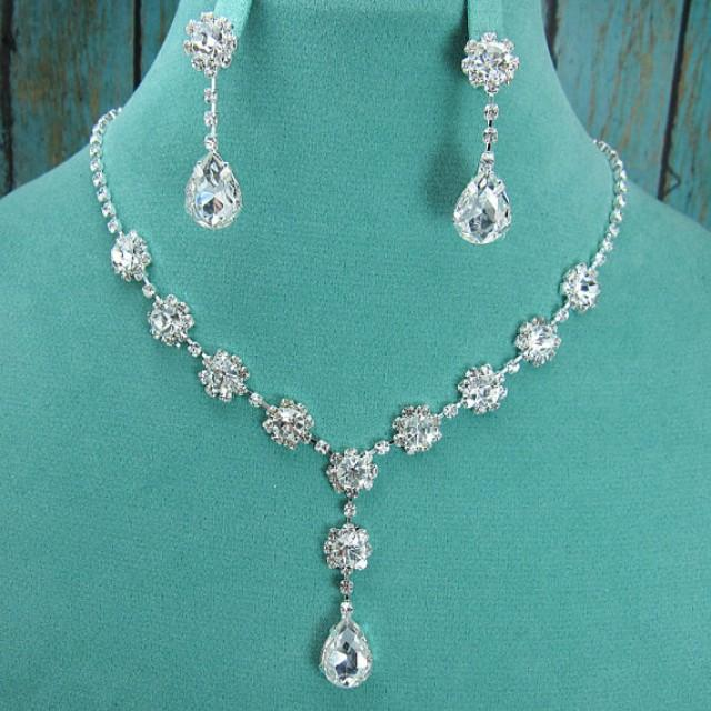Crystal Rhinestone Teardrop Jewelry Set Crystal Wedding Necklace Set Bridal Jewelry Set ...