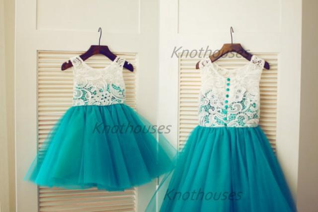 Green Tulle Ivory Lace Flower Girl Dress Children Toddler Dress For ...