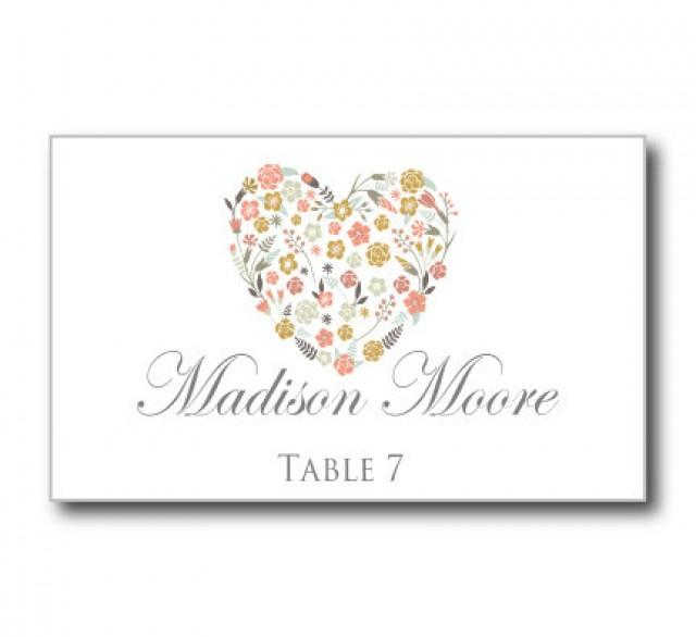 Printable Wedding Place Cards - Floral Heart Wedding Place Cards ...