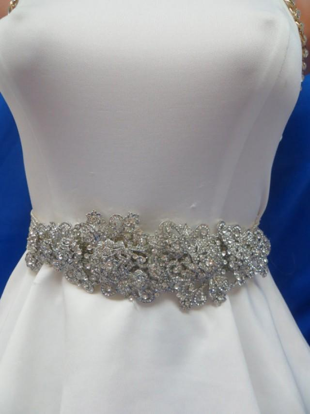 Rhinestone sash wedding belt crystal belt gown for Rhinestone sash for wedding dress