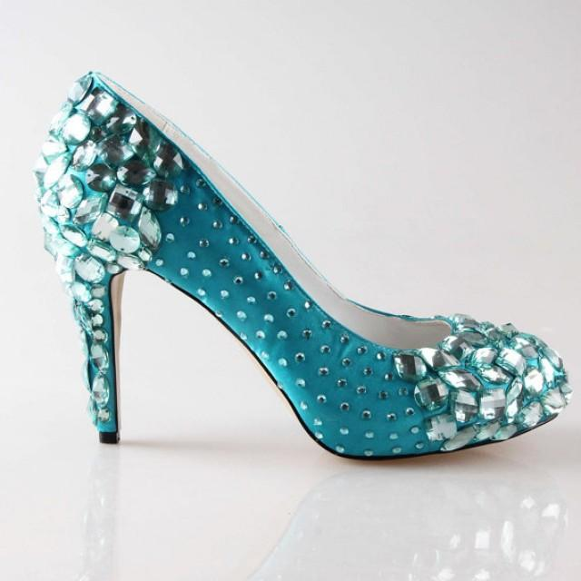 High End Turquoise Oasistiffany Blue Crystal Shoes