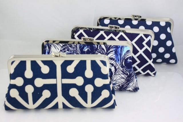 wedding photo - Navy Wedding Purse / Bridesmaid Clutches / Design Your Own for Wedding Bridal Party Gifts - Set of 9