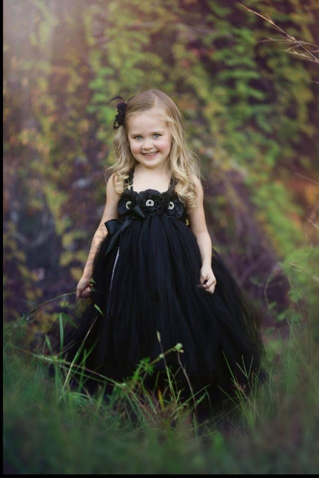 Black tutu dress birthday tutu dress flower girl dress for Little black wedding dress