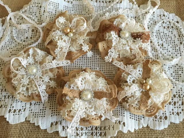wedding photo - 5 shabby chic lace handmade flowers