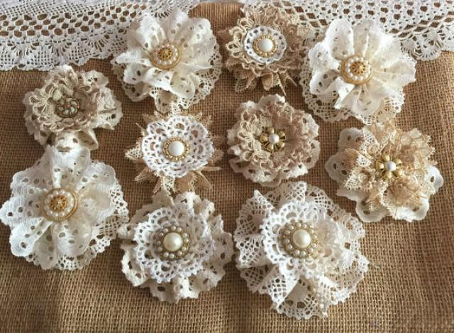 wedding photo - 10 shabby chic vintage lace handmade flowers