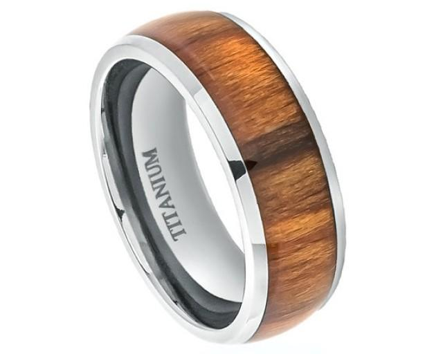 Wood Rings,Titanium Wedding Band,Titanium Ring,Promise Wood Ring For Men,Mens  Ring,Engagement Ring,Santos Rosewood Inlay, SNUJDTIQSI #2228879 - Weddbook
