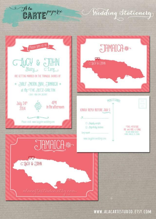 Coral Reef Beach Destination Wedding Invitation And RSVP Cards ...