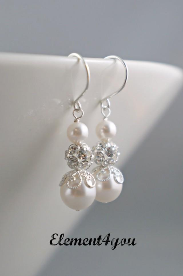 Earrings bridal earrings bridal jewelry bridesmaids gift for Jewelry for champagne wedding dress
