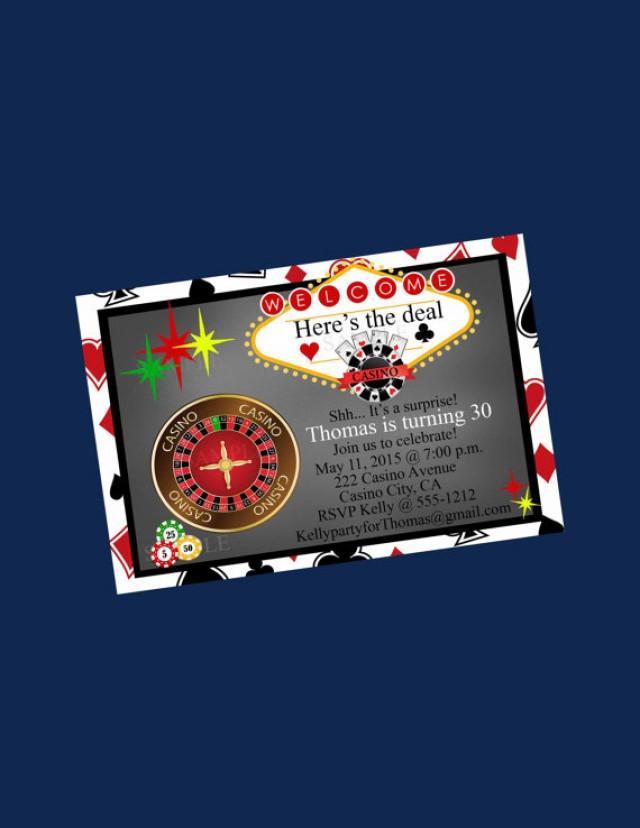 Casino Party Invitation 30th Birthday Blackjack Bachelor Party Poker ...