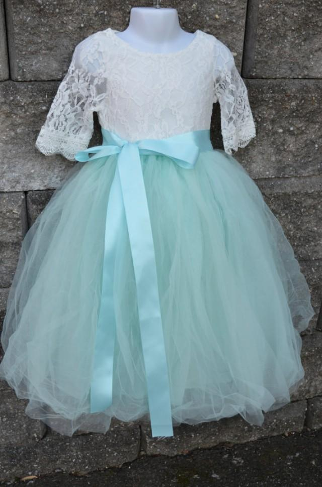 Flower girl tutu dress set girls aqua mint long tulle for How to make a long tulle skirt for wedding dress