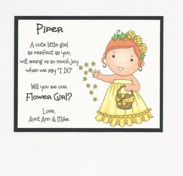 Redhead Piper Will You Be My Flower Girl Flat Card Personalized