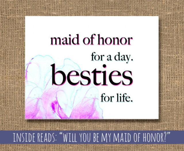 Honor Or Honour On Wedding Invitations: Wedding Maid Of Honor / Besties For Life Card / How To Ask
