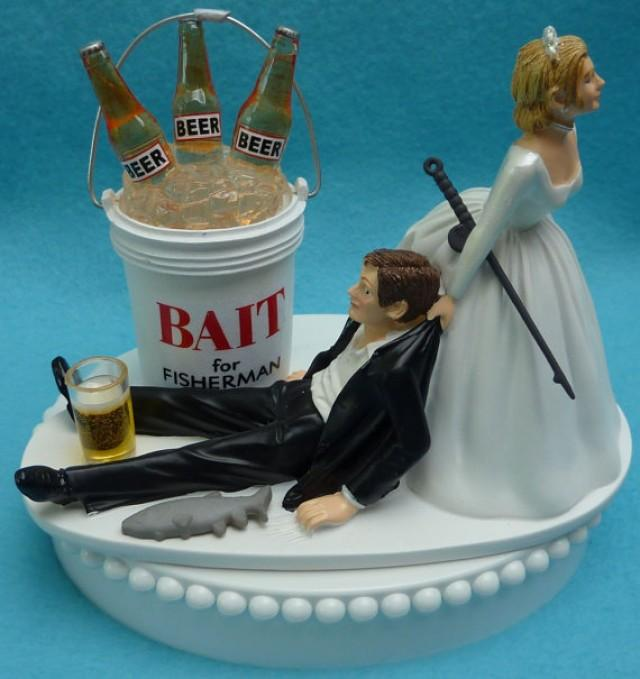 Wedding Cake Topper Fishing Beer Bait Fisherman Fish Pole