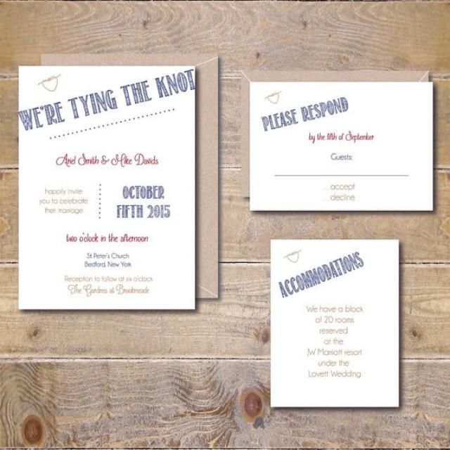 Printable Wedding Invitation DIY Digital File Print At Home PDF Knot Invitations