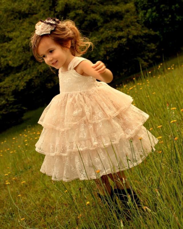 Girls Vintage Lace Ruffle Dress, Girls Rustic Flower Girl