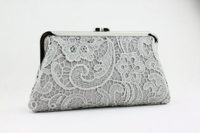 wedding photo - Grey Lace Clutch / Wedding Gift / Bridal Clutch / Bridesmaid Purse Clutch - 8 inches Christine Style Clutch
