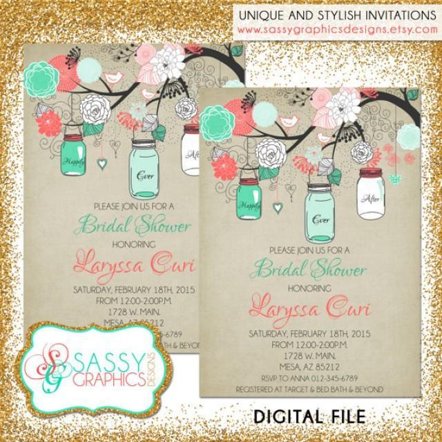 rustic bridal shower invitation bridal shower invite mason jar shower invite mint coral and tan printable digital file 31 weddbook