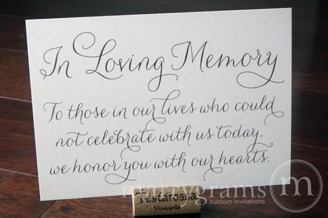 In Loving Memory Sign Table Card Wedding Reception Seating Signage Family