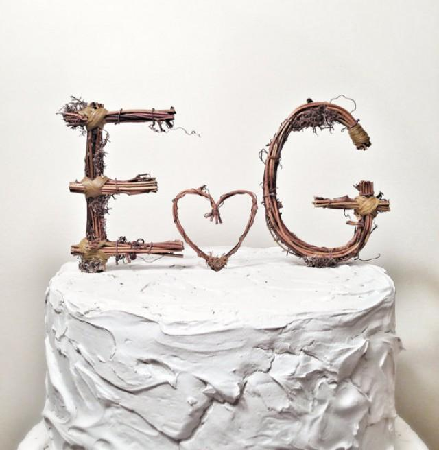 Wedding Cake Toppers Letter S : Rustic Monogram Wedding Cake Topper: Personalized- Any Two ...