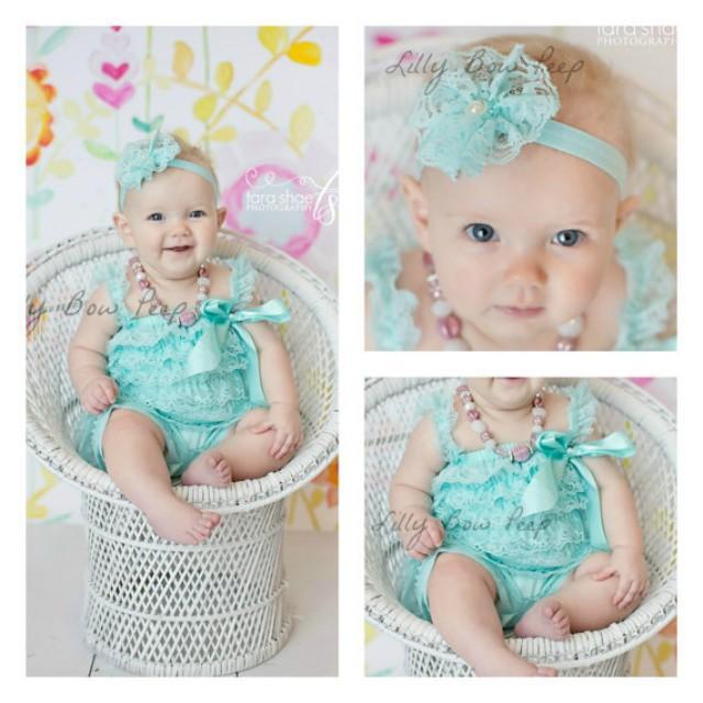 Flower Girl Dress & Headband SET Blue Aqua Lace Petti