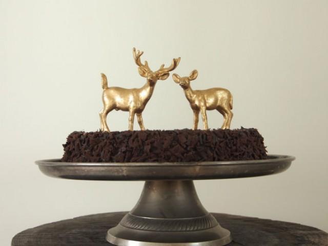 Gold Wedding Cake Topper Golden Deer Bride And Groom Woodland Rustic Wedding 2231530