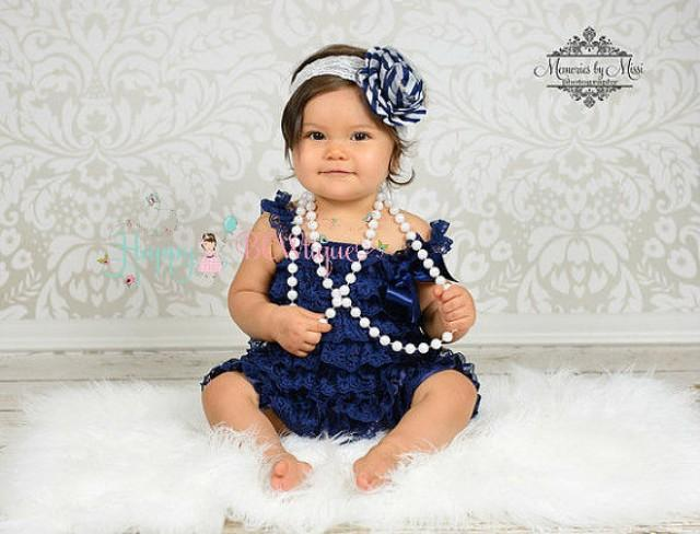 wedding photo - baby girls dress, Navy Blue Vintage Lace Dress, ruffle dress, baby dress, Birthday outfit, flower girl dress, nautical dress, Toddler dress