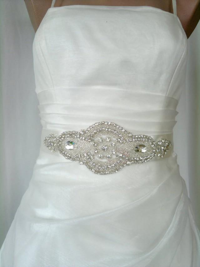 rhinestone royal beaded ivory wedding dress sash