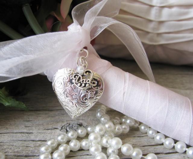 Bridal Bouquet Locket Charm : Dad bridal bouquet locket father of the bride