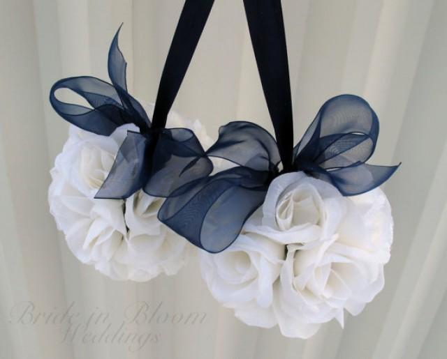 wedding flower balls pomander navy blue wedding decorations ceremony aisle pew markers 2231647. Black Bedroom Furniture Sets. Home Design Ideas