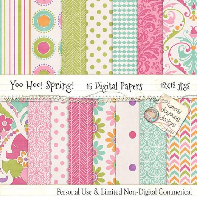 Spring Digital Papers Paisley Baby Shower Groovy Girl Pink