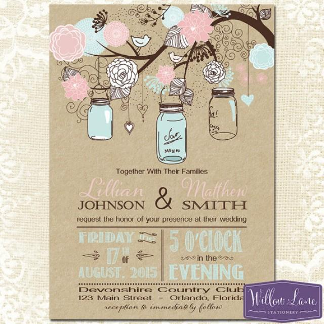 mason jar wedding invitation  kraft pink and blue mason jar, Wedding invitations