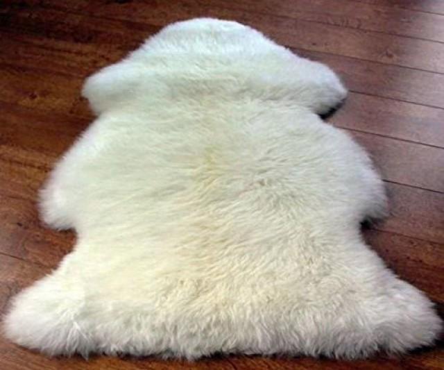 wedding photo - Genuine Sheepskin Rug One Pelt Ivory Fur 2 X 3