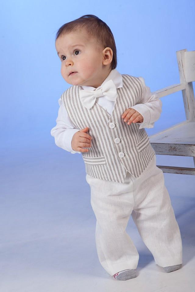 Baby Boy Linen Suit Ring Bearer Outfit Baptism Natural Clothes SET Of 4 First Birthday Rustic Wedding Beach Family Photos Formal Striped