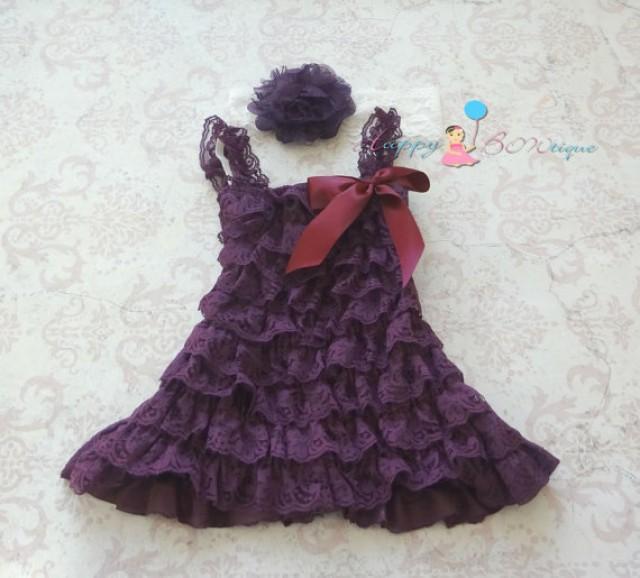 wedding photo - Vintage Dark Purple Plum lace dress,Flower girls dress,baby dress,Birthday outfit,Purple dress, girls dress, baby girls dress, toddler