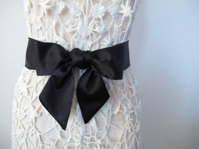 Black sash bow belt wedding sash bridesmaid sashes matte satin sash