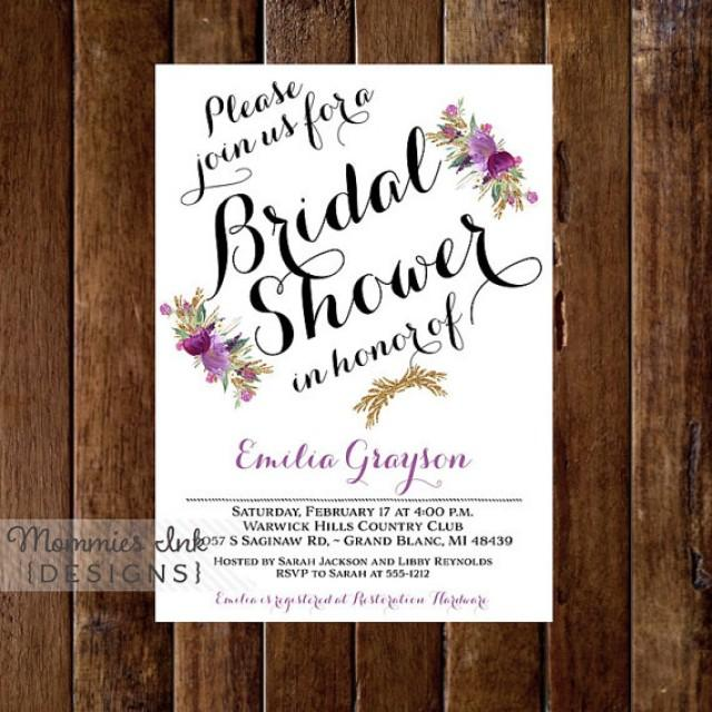 Purple Flower Bridal Shower Invitation : Amethyst flowers bridal shower invitation purple