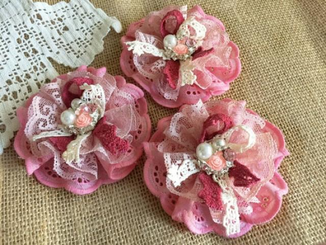 wedding photo - 3 shabby chic lace and fabric handmade flowers.