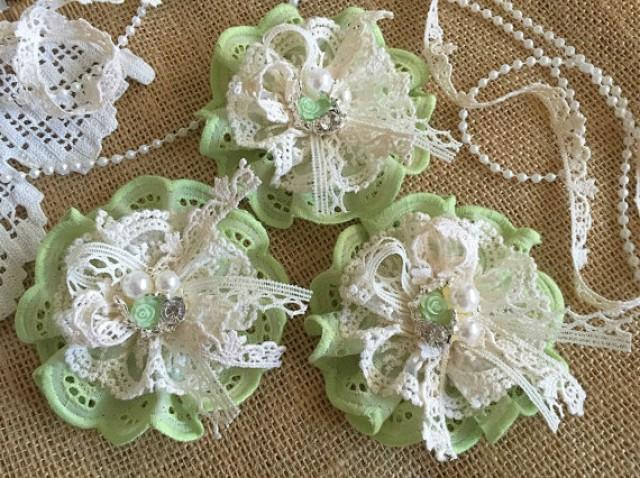 wedding photo - 3 shabby chic lace and fabric handmade flowers green and ivory colors.