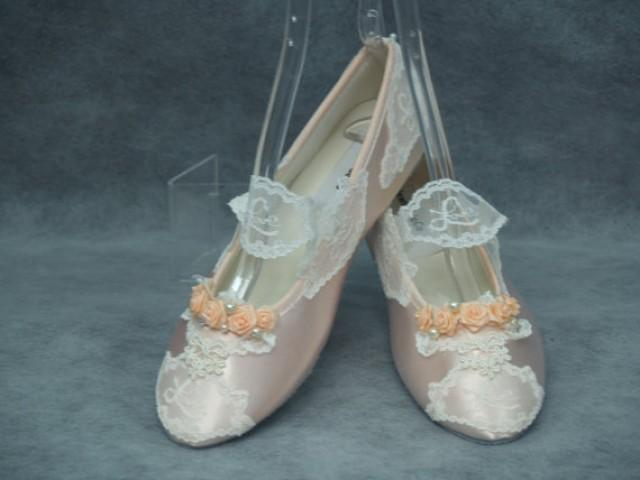1a40577cdf6697 Bridal Ivory Victorian Flats - Wedding PEACH shoes - LOVE LACE flat shoes