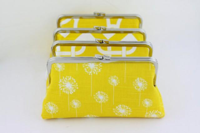 wedding photo - Lemon Wedding Clutch in Various Patterns / Yellow Bridesmaids Clutches / Design Your Own Clutch - Set of 6