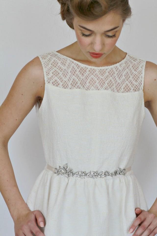 Bridal rhinestone belt wedding floral crystal sash vintage for Vintage wedding dress belts