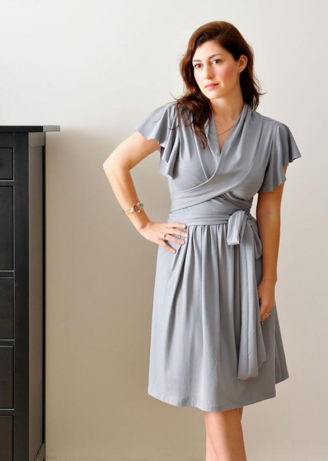 Bridesmaid wrap dress bridesmaid nursing dress wedding for Grey dress wedding guest