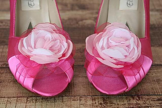 Wedding Shoes Fuschia Peep Toe Wedding Shoes With Pink Ombre Flower